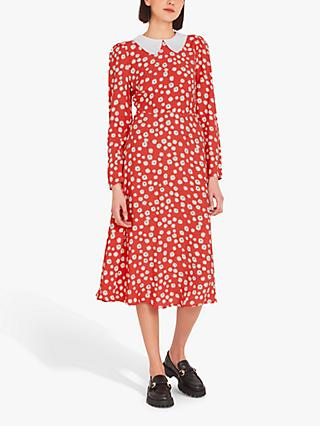 Finery Piper Ditsy Print Contrast Collar Dress, Red