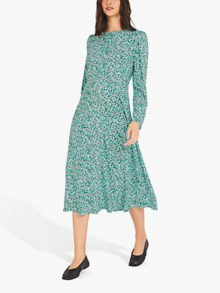 Finery Emelia Floral Print Midi Dress, Green/Meadow Ditsy