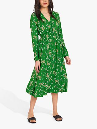 Finery Quinn Floral Print Dress, Green/Linea Ditsy