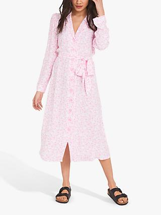 Finery Willow Leaf Flower Print Dress, Pink