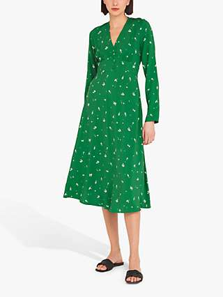 Finery Lilly Cherry Print Tea Dress, Green/Cherry Ditsy