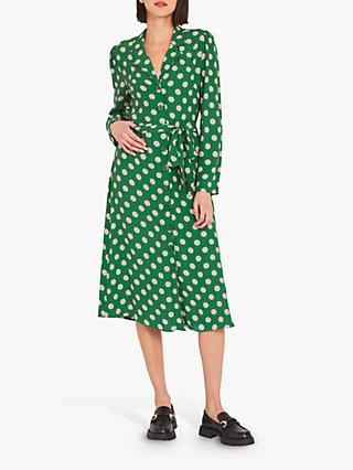 Finery Willow Polka Dot Print Dress, Green