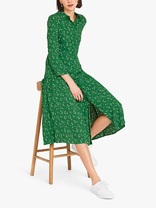 Finery Liana Midi Shirt Dress, Green/Floral Stems
