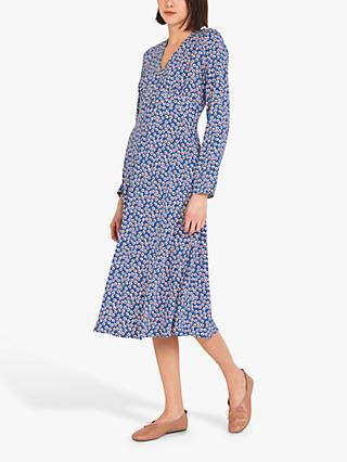Finery Lilly Floral Print Tea Dress, Blue/Vintage Ditsy