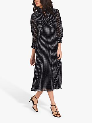 Finery Martha Dot Spot Midi Dress, Black/Ivory