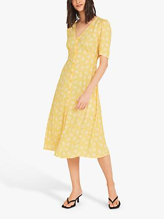 Finery Fayre Bouquet Print Tea Dress, Yellow