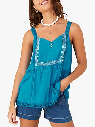 Monsoon Lace Embroidered Cami Top, Teal
