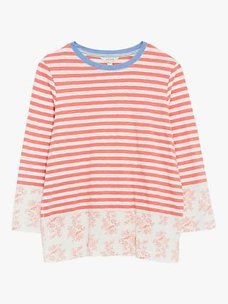 White Stuff Mixed Print Striped Cotton Tee, Mid Pink