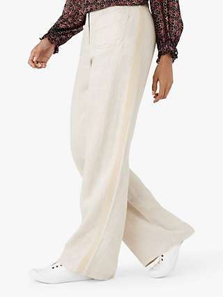 Brora Wide Leg Herringbone Weave Linen Trousers, Stone