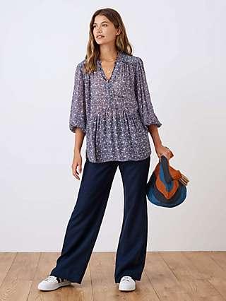 Brora Wide Leg Linen Trousers, Navy
