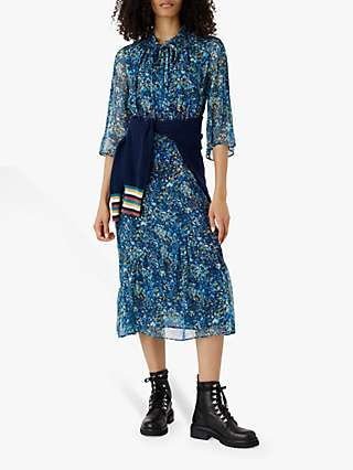 Brora Liberty Silk Tiered Floral Midi Dress, Indigo Meadow