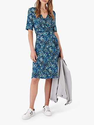 Brora Liberty Jersey Floral Knee Length Dress, Indigo Meadow