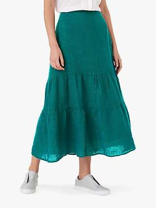 Brora Gauzy Linen Tiered Maxi Skirt, Spruce