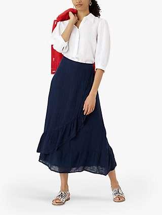 Brora Gauz Linen Ruffle Maxi Skirt