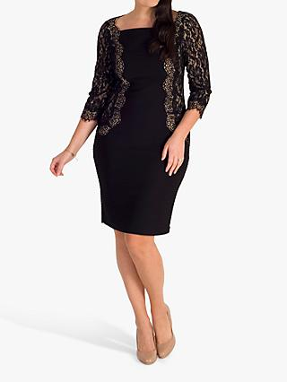 chesca Lace Trim Dress, Black
