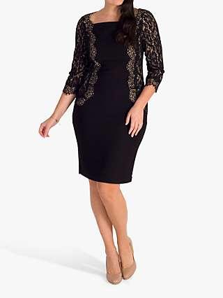 Chesca Lace Trim Dress, Black