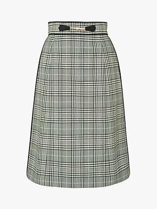L.K.Bennett Faye Check Skirt, Green