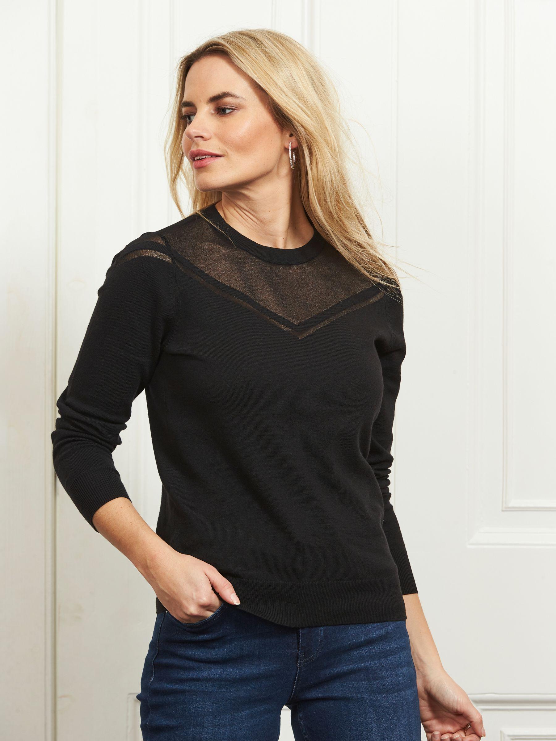 Sosandar Fine Knit Sheer Panel Jumper, Black