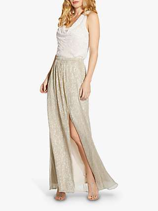 Adrianna Papell Metallic Side Slit Maxi Skirt, Light Champagne