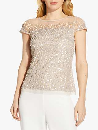 Adrianna Papell Beaded Boat Neck Top, Biscotti