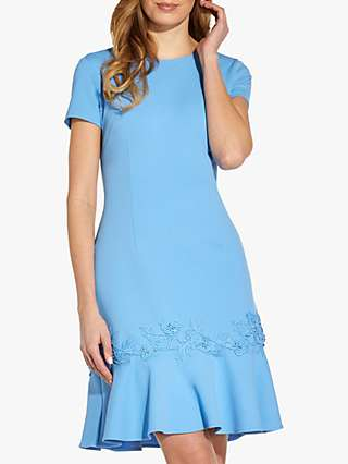 Adrianna Papell Flared Crepe Dress, Cool Cloud