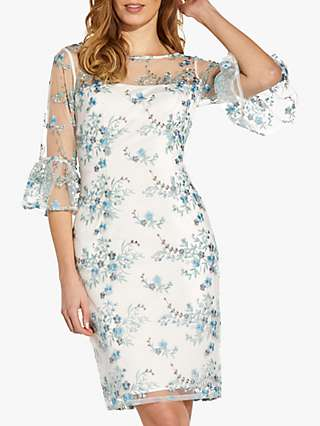 Adrianna Papell Floral Embroidered Dress, Blue Multi
