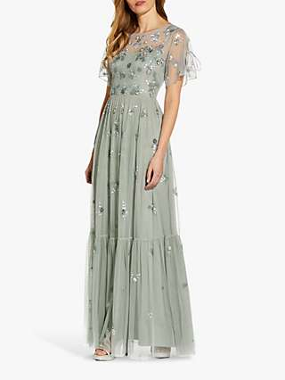 Adrianna Papell Beaded Mesh Maxi Dress, Frosted Sage