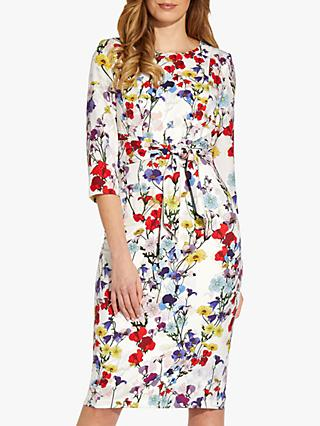 Adrianna Papell Tie Front Floral Print Dress, Ivory/Multi