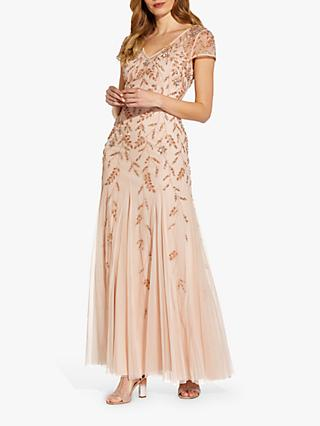 Adrianna Papell Beaded V-Neck Maxi Gown, Shell