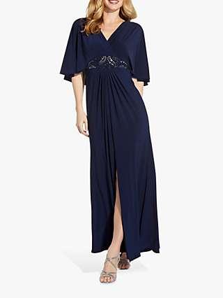 Adrianna Papell Jersey Bead Cape Maxi Dress, Midnight
