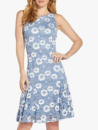 Adrianna Papell Lace Godet Dress, Blue/Ivory