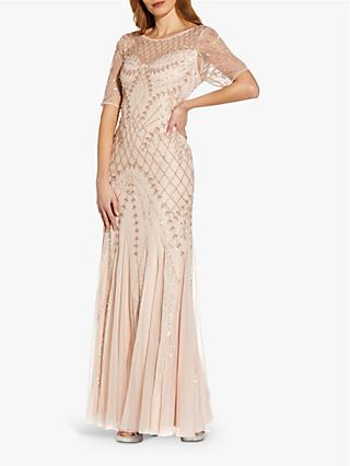 Adrianna Papell Beaded Godet Maxi Gown, Shell