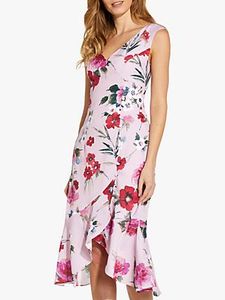 Adrianna Papell Floral Print Sleeveless Midi Dress, Pink/Multi
