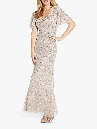 Adrianna Papell Beaded Mermaid Maxi Gown, Biscotti