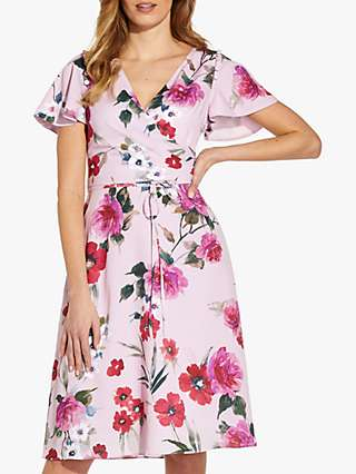 Adrianna Papell Floral Wrap Dress, Pink Multi