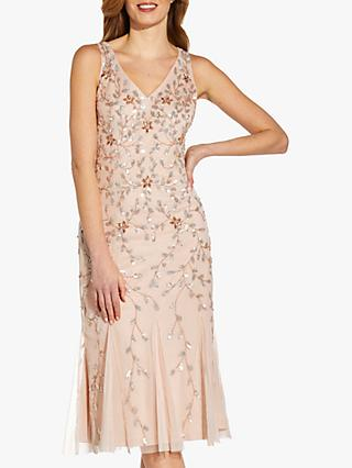 Adrianna Papell Beaded V-Neck Midi Dress, Shell