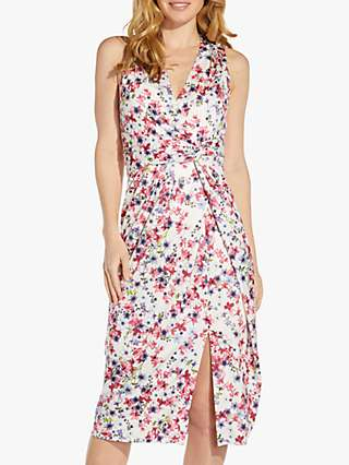 Adrianna Papell Floral Twist Waist Jersey Dress, Pink/Multi
