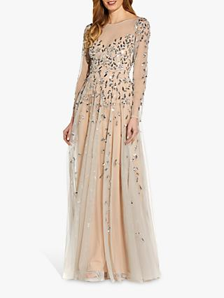 Adrianna Papell Beaded Sequin Maxi Gown, Nude/Silver