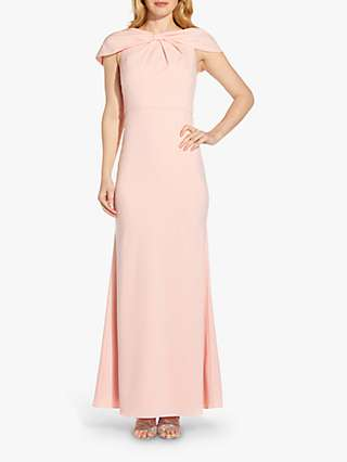 Adrianna Papell Crepe Cape Shoulder Maxi Gown, Blush