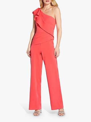 Adrianna Papell Crepe Draped Jumpsuit, Sweet Guava
