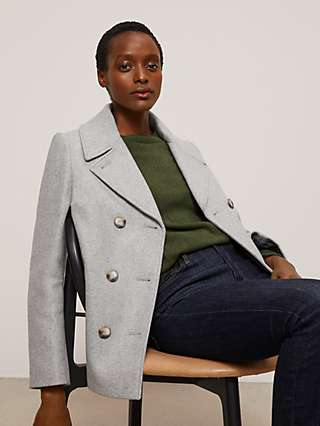 John Lewis & Partners Wool Blend Double Breasted Peacoat, Grey