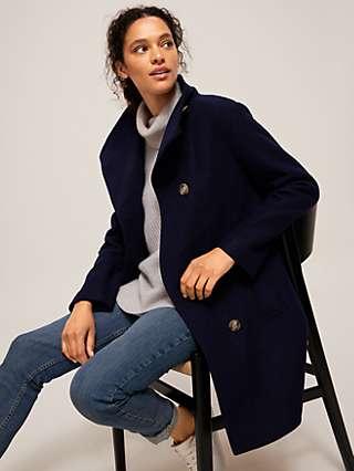 John Lewis & Partners Wool Blend Grown On Funnel Neck Coat