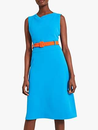 Damsel in a Dress Timone Belted Midi Dress, Blue/Orange