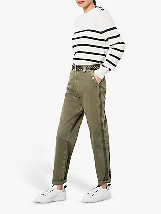 Mint Velvet Cotton Stretch Stripe Chino Trousers, Khaki