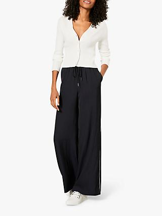 Mint Velvet Side Stripe Palazzo Trousers, Navy