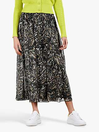 Ted Baker Abstract Print Maxi Skirt, Khaki