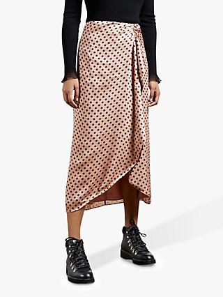 Ted Baker Savsaa Polka Dot Midi Skirt, Light Pink