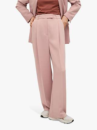 Mango Pleat Detail Straight Leg Trousers, Pastel Pink