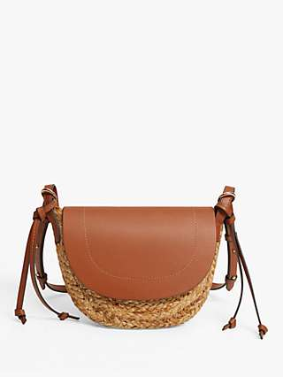 Mango Raffia Flap Front Cross Body Bag, Medium Brown