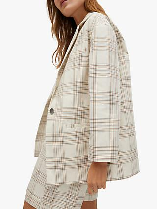 Mango Check Cotton Blazer, Light Beige